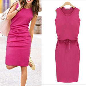 2018 Summer Women Dress Fashion Solid Cotton Slim Fit Pockets Pencil Dresses Work Sleeveless Sexy Casual Dress Robe Femme J2218-geekbuyig