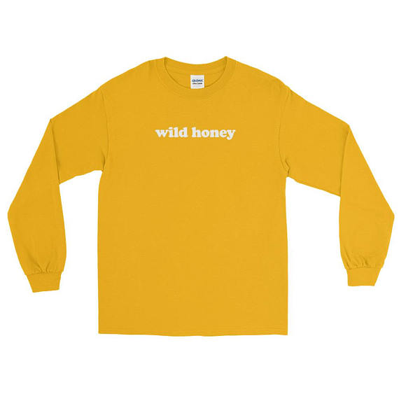 Wild Honey Funny Tumblr Sweatshirt Long Sleeve Graphic Outfit Unisex Funny Fashion Clothes Jumper Girl Yellow Hoodie Tops-geekbuyig