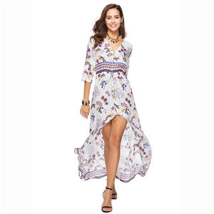 Sexy Print Long Women Dress Elegant Maxi Vintage 2018 Fashion Beach Robe Bohemian Vestidos Casual Clothes Summer Style Dress-geekbuyig