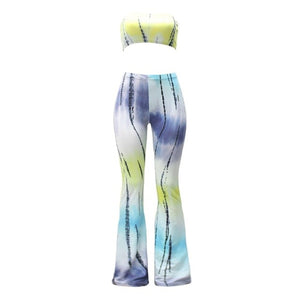 Ladies Trousers FitnessWomen's Long Pants Casual Pattern Print Wide leg Bell Bottom Legging Soft Flare Pants+Sleeveless Tops-geekbuyig