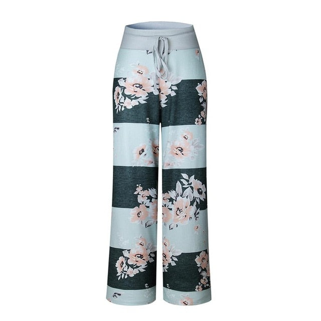 Fashion 2017 Women Loose Wide Leg Long Pant Floral Print Casual High Waist Palazzo Leggings Trouser Pajama Pants At Home-geekbuyig