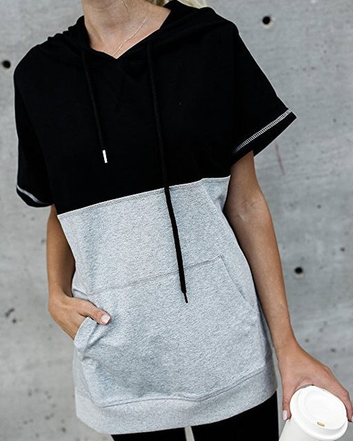 GUMPRUN Women Summer Drawstring Patchwork Hoodies Casual Loose Short Sleeves Tee Shirt Splicing Pocket Pullovers Sweatshirt 2018-geekbuyig