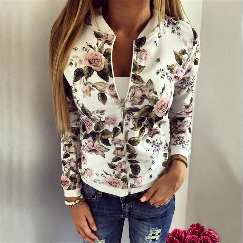 2017 Autumn Women Basic Sweatshirt Zipper Hoodies Women Floral Printed Outwear Slim Coat Casual Women Hoodie-geekbuyig