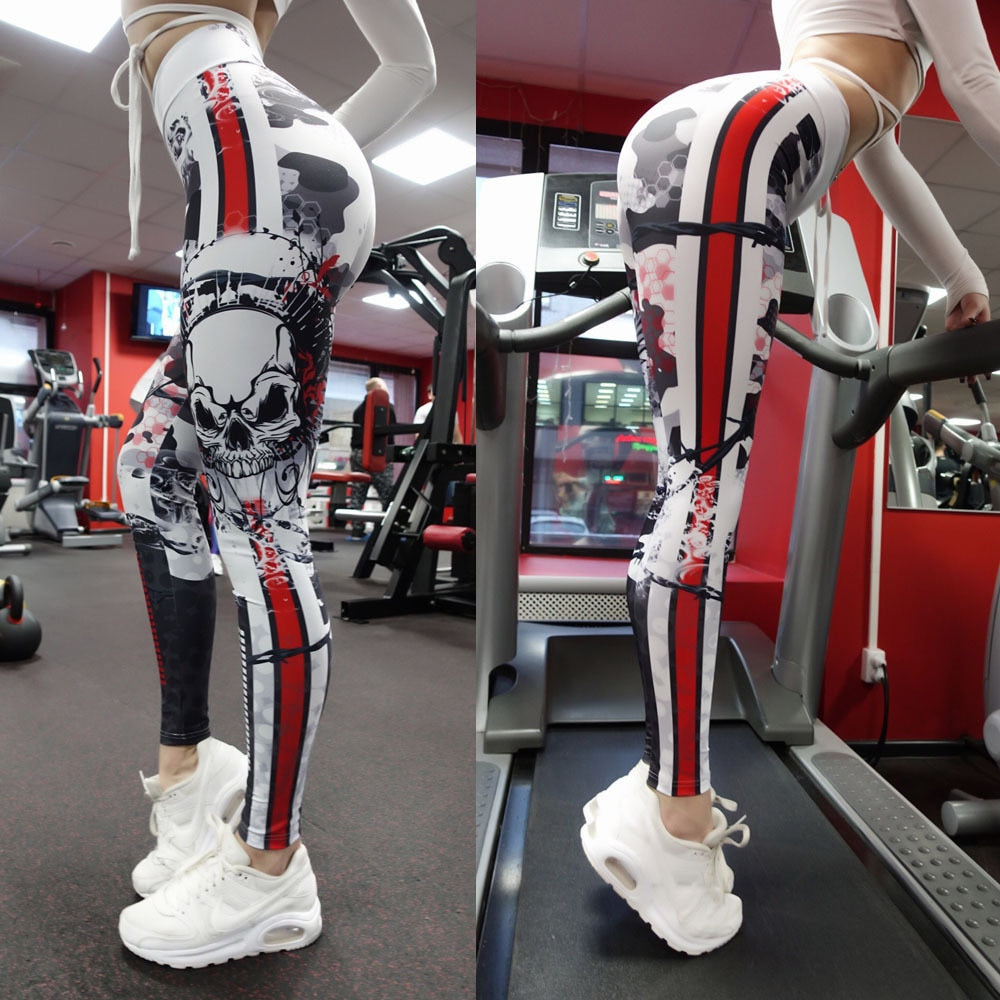 Skull 3D Print Fitness Leggings WOmen Sexy High Waist Leisure Legging Workout Quick Dry Gothic Sporting Pants Workout Leggins-geekbuyig