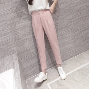 High Waist Pink Black Harem Pants Women 2018 Summer Autumn Casual Plus Size 3xl Slim Ol Work Chiffon Trousers Pantalon Femme-geekbuyig