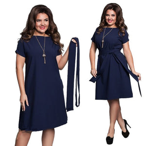 Elegant Sexy Chiffon Summer Women Dresses Big Size Dress 2018 Plus Size Women Clothing L-6xl Dress Casual O-neck Bodycon Dress-geekbuyig