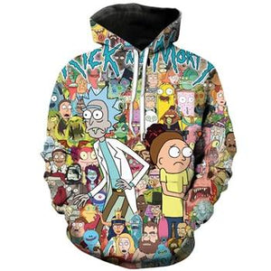 Classic cartoon Rick and Morty 3d Hoodies Funny Crazy Scientist Rick Printgeekbuyig-geekbuyig