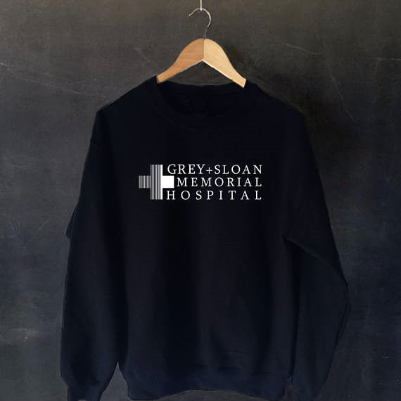 GREY SLOAN MEMORIAL HOSPITAL Crewneck Graphic Tumblr Long Sleeve Casual Tops Sweatshirt Unisex Ladies Hipster Outfits Jumper Top-geekbuyig