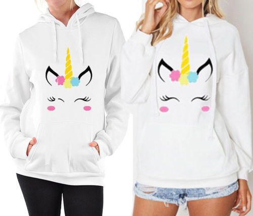 2017 New Autumn Winter Kawaii Unisex Cartoon Unicorn Printing White Hoodie Long Sleeve Round Neck Top Clothes-geekbuyig