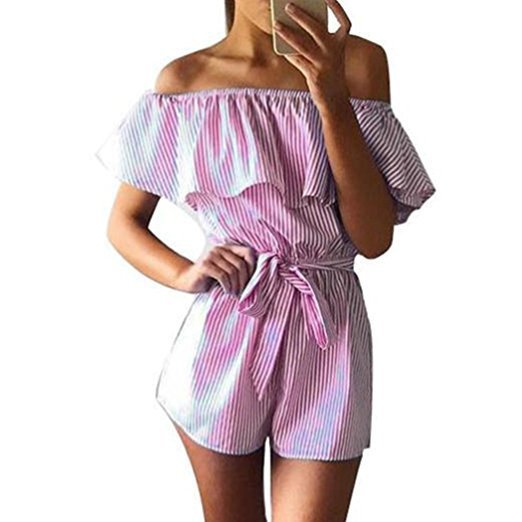 Summer 2018 Women Strapless Playsuit Striped Rompers Ruffles Sleeve Jumpsuit Backless Sexy Overall Casual Beach Short Pants-geekbuyig