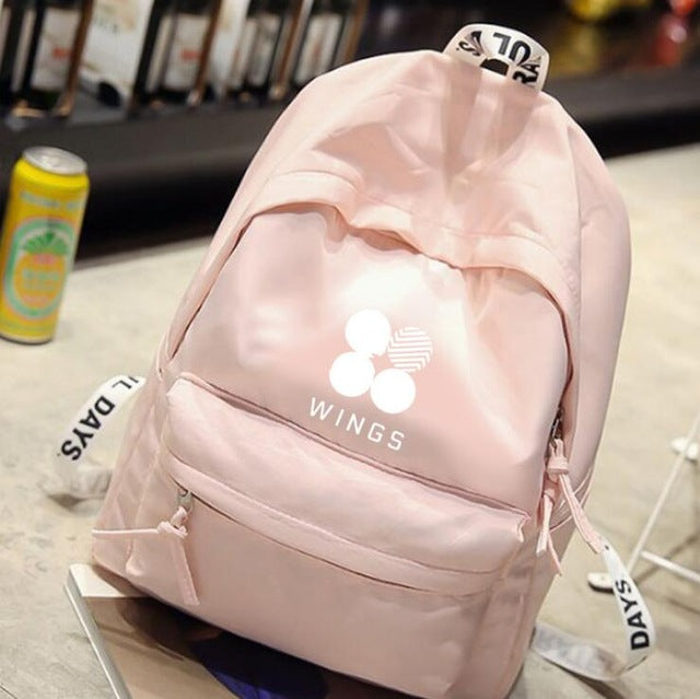 New kpop BTS Bangtan Boys WINGS The Same canvas bag backpack three colors are available-geekbuyig