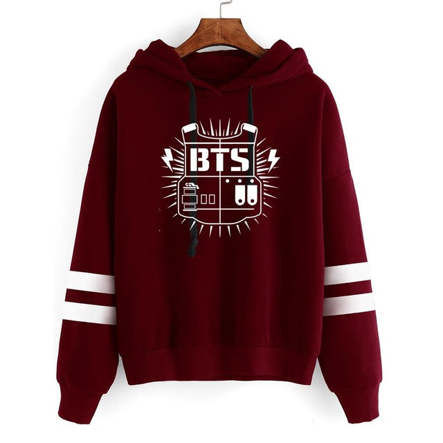 New Kpop BTS Bantan Boys the Same Around Fall and Winter Men and Women Hoodie Pullover Long Sleeve Hoody with Hat-geekbuyig