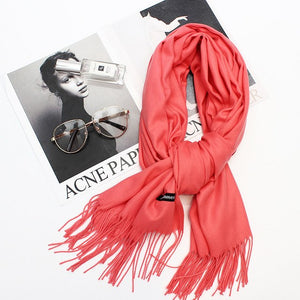2018 spring winter scarf solid long size cashmere scarf women scarves lady soft warm shawls quality Pashmina Tassel Wrap-geekbuyig
