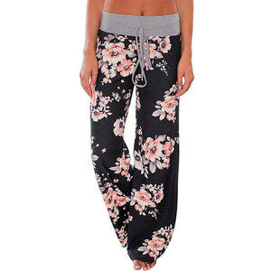 Ladies Floral Print Wide Leg Pants Women Long Drawstring Casual Loose Pant 2018 Spring Boho Beach Elastic High Waist Trousers-geekbuyig