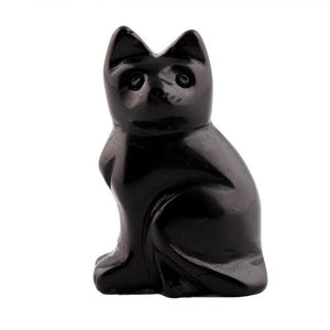 2.0Inches Black Obsidian Natural Stone Carved Cat Figurine Feng Shui Crafts Decoration Chakra Healing Crystal Reiki Free Pouch-geekbuyig
