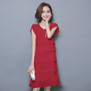 Summer Dress Women Plus Size 5XL New 2018 Loose Chiffon Cascading Ruffle Red Dresses Causal Ladies Elegant Party Cocktail Short-geekbuyig