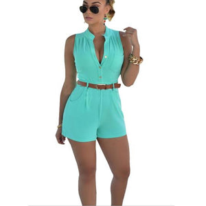 2018 Summer Sexy Playsuit Women Casual Slim Jumpsuits Rompers Short Sleeve Bodycon Playsuit One Piece Women Set Solid Bodysuit-geekbuyig