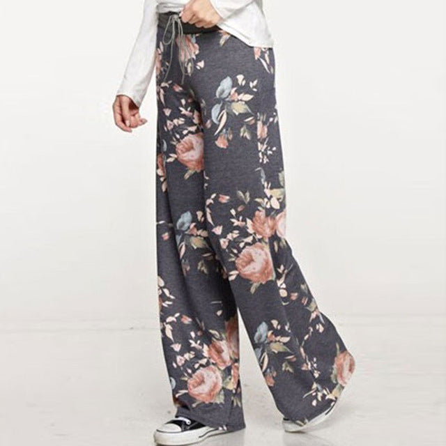 Women Loose Wide Leg Long Pant Floral Print Casual High Waist Palazzo Leggings Fashion 2018 Brand Trouser Pajama Pants At Home-geekbuyig
