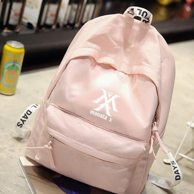 New kpop MONSTA X group The Same canvas Student bag backpack three colors are available-geekbuyig