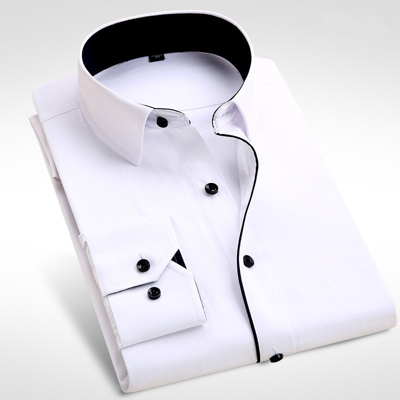 2018 Brand New Men Shirt Male Dress Shirts Mens Fashion Casual Long Sleeve Business Formal Shirt camisa social masculina-geekbuyig