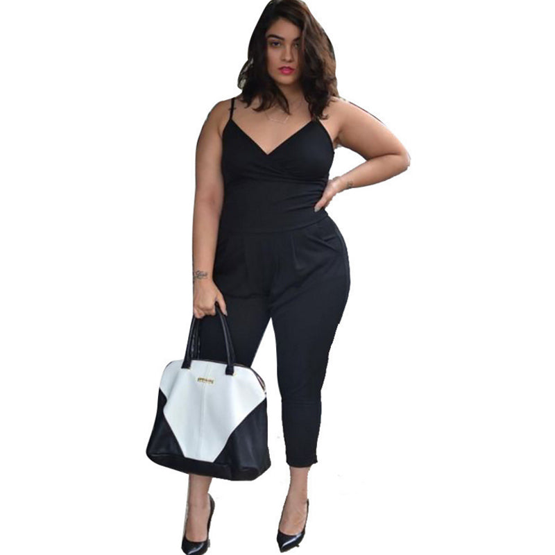 Womens Large Size Jumpsuits 2018 Plus Size Ladies V Neck Sleeveless Summer Big Size Long Jumpsuit black bodycon Rompers Macacaos-geekbuyig