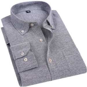 Oxford Men's Casual Long Sleeved Shirt Plaid Striped 2018 Spring Slim Fit Male Business Dress Shirt Brand Comfortable Breathable-geekbuyig