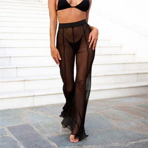 Womens Beach Mesh Sheer Bikini Cover Up Swimwear Transparent Long Pant Trousers H35-geekbuyig