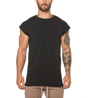 Brand clothing fitness t shirt men fashion extend long tshirt summer gyms short sleeve t-shirt cotton bodybuilding crossfit tops-geekbuyig