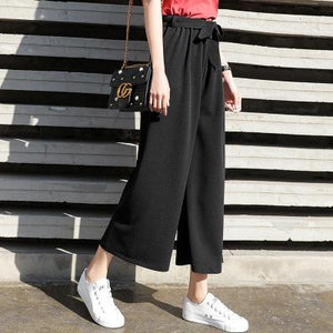2018 Women Chiffon High Waist Wide Leg Pants Bow Tie Drawstring Sweet Elastic Waist Loose Ankle-length Pants Trousers Pantalones-geekbuyig