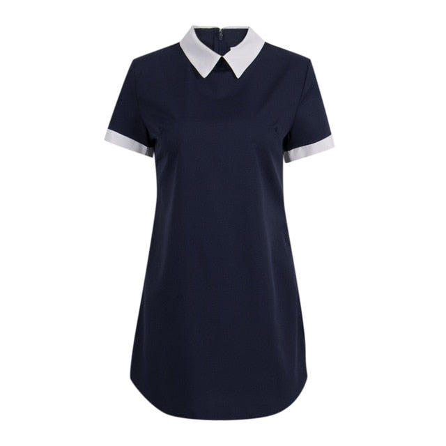 Women Sexy Summer Dress Short Sleeve Bodycon Sundress School Casual Peter Pan Collar Short Mini Dress-geekbuyig