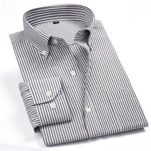 Men's Striped Oxford Spinning Casual Long Sleeve Shirt Blue Comfortable breathable Collar Button Design 2018 Spring Autumn New-geekbuyig