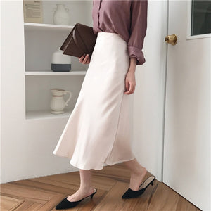 summer elegant high waist women long skirt solid A-line faldas mujer female solid slim jupe femme saia longa-geekbuyig
