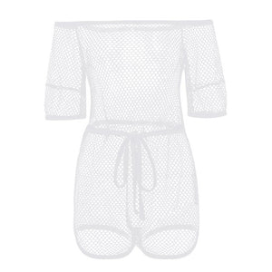 2018 Sexy Transparent Mesh Playsuit Tops Women Hollow Out Short Sleeve Rompers Bodysuit Crochet Beach Playsuits Ladies Overalls-geekbuyig