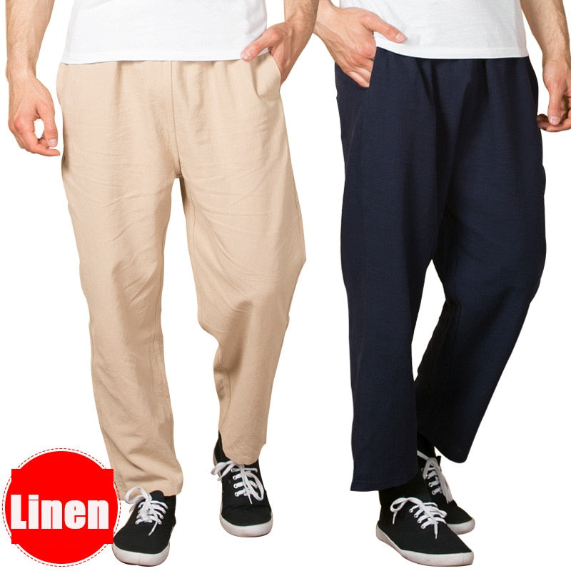 2018 New Men's Casual Linen pants Trousers for Spring Summer thin straight loose pants PLUS size 3XL 4XL 5XL 6XL 7XL-geekbuyig