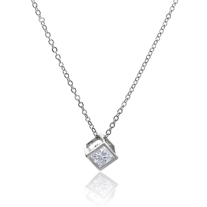 x259 New Arrival Crystal Rhinestone Pendant Necklace For Women Fashion Silver Color Square Clavicle Necklace Wedding Jewelry-geekbuyig