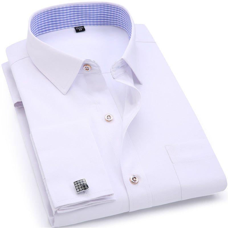 Men's Dress Shirts French Cuff Blue White Long Sleeved Business Casual Shirt Slim Fit Solid Color French Cufflinks Shirt-geekbuyig