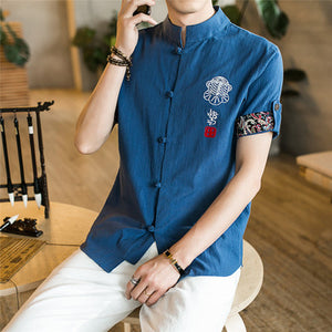 2018 Chinese Style Cotton Linen Men Shirts Short Sleeve Embroidery Casual Shirt Male Summer Chemise Homme Slim Fit Mens Shirts-geekbuyig