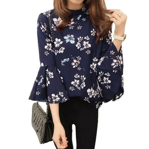 Autumn Floral Chiffon Blouse Women Tops Flare Sleeve Shirt Women Ladies Office Blouse Korean Fashion Blusas Chemise Femme-geekbuyig