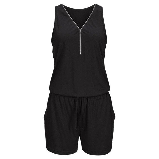 Feitong Womens Holiday Casual Zipper Mini Playsuit Ladies Sleeveless Short Jumpsuit Summer Beach Rompers Combishort YR3-geekbuyig