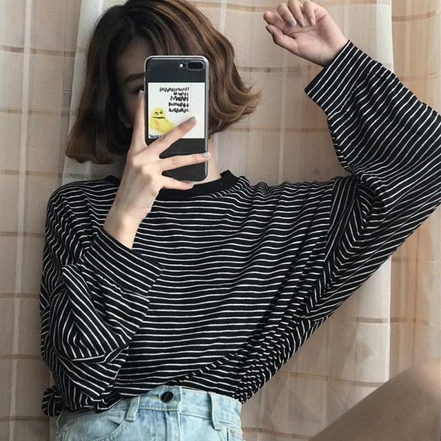 YouGeMan T Shirt Femme 2018 Spring Autumn Korean Style Ulzzang Harajuku Retro Long Sleeve O-neck Striped T-shirt For Women Tops-geekbuyig