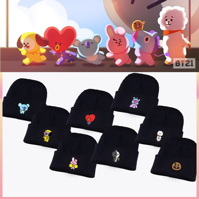 Kpop home Bangtan boys BTS bt21 Same Fans Club beanie hat Hiphop cap women's hat coolTATA VAN COOKY CHIMMY SHOOKY KOYA RJ MANG-geekbuyig