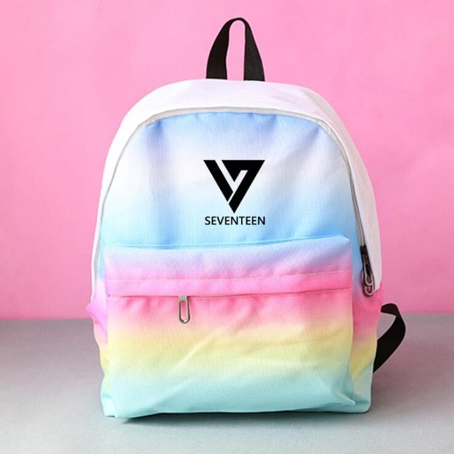 Kpop home SEVENTEEN 17 group SEUNGCHEOL The Same Gradient pink blue color canvas bag student backpack-geekbuyig