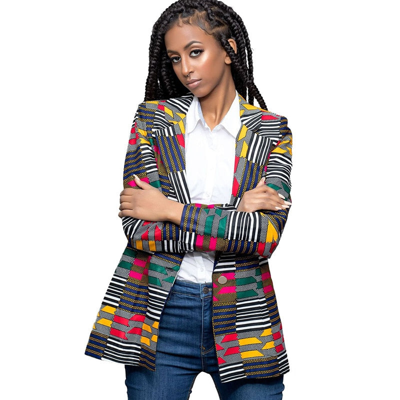 Womens Traditional African Print Slim Fit Blazer Jackets 2018 Fashion Notched Collar Ladies Casual Blazers Coat Dashiki Clothing-geekbuyig