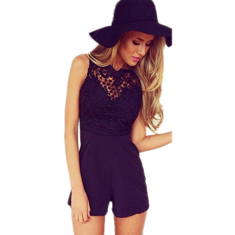 2018 Mesh Lace Playsuits New Fitted Playsuit Women Fashion Sexy Club bodycon jumpsuit Sleeveless Shorts Coveralls Macacaos J2314-geekbuyig