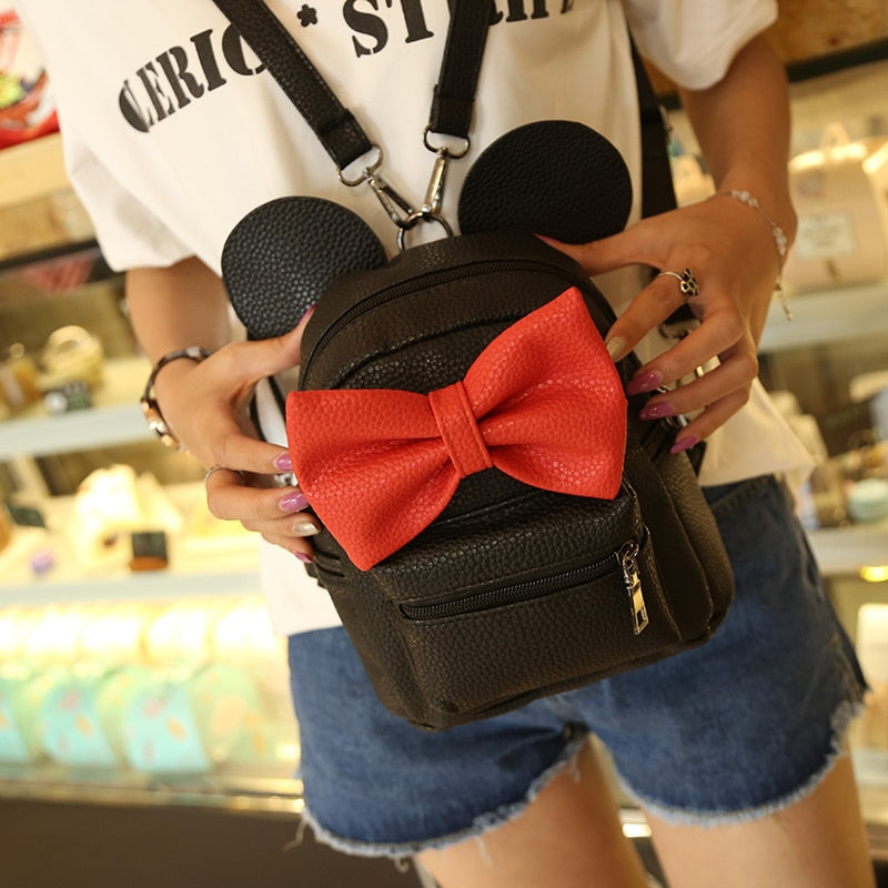 2018 New Mickey Backpack Pu Leather Female Mini Bag Women's Backpack Sweet Bow Teen Girls Backpacks School Bag Lady Shoulder bag-geekbuyig