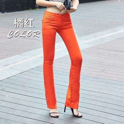 Spring and autumn new pants Slim fashion pants candy color elastic trousers large size leisure micro Flare Pants TB7805-geekbuyig