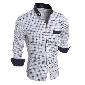 2018 Fashion Luxury Mens Stylish Slim Fit Shirt Plaid Men Dress Slim Fit Cotton Long Sleeve Formal Casual Social Plus Size Shirt-geekbuyig