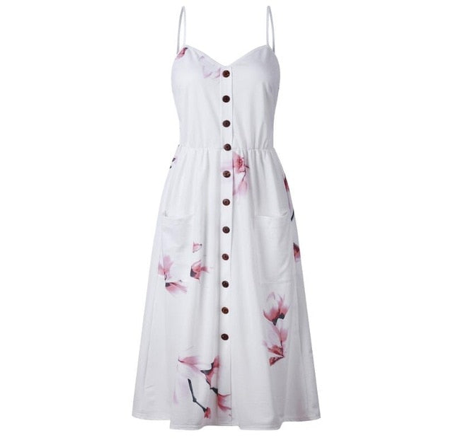 3XL Summer 2018 Strap Print Floral Dot Long Beach Dress Women Sundress Sexy Loose Elegant Vintage Button Pockets Ladies Dress-geekbuyig