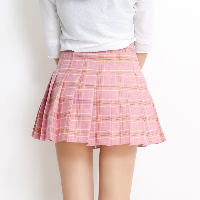 Korean New Women Casual Plaid High Waist A-Line Pleated Skirt School Mini Skirt Female Zipper Side Skirt-geekbuyig