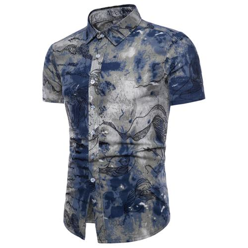 Men's Casual Shirts Short-Sleeve 2018 Summer Hawaiian Shirt Skinny Fit with Various Pattern Man Big Sizes Clothes M-4XL 5XL-geekbuyig